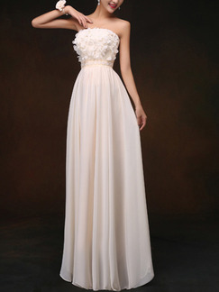 Cream Strapless Maxi Plus Size Dress for Prom Bridesmaid