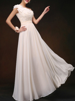 Cream One Shoulder Plus Size Maxi Dress for Prom Bridesmaid
