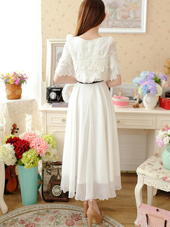 White Maxi Lace Plus Size Dress for Casual Beach