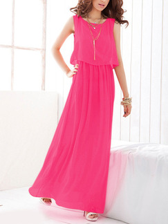Pink Maxi Plus Size Cute Dress for Casual Beach