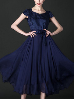 Blue Midi Fit & Flare Plus Size Dress for Prom Bridesmaid