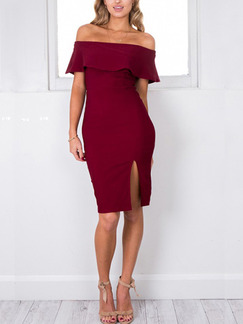 Red Off Shoulder Above Knee Plus Size Bodycon Dress for Party Evening Cocktail