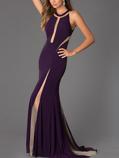 Purple Maxi Bodycon Halter Plus Size Dress for Party Cocktail Evening Ball