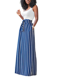 White and Blue Two Piece Maxi Fit & Flare Plus Size Dress for Party Cocktail Ball