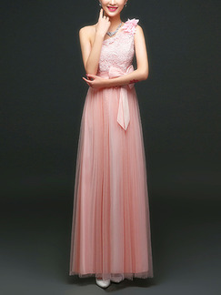 Pink Cute Maxi One Shoulder Lace Dress for Prom Bridesmaid