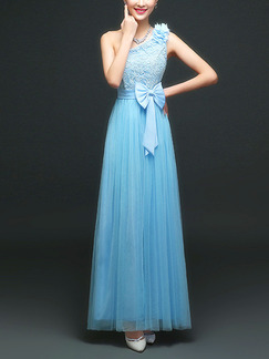 Blue Maxi One Shoulder Lace Dress for Prom Bridesmaid
