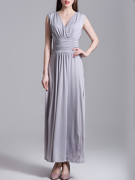 Grey Wrap V Neck Maxi Plus Size Dress for Cocktail Prom Bridesmaid Ball
