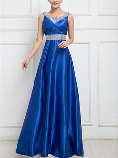Blue Maxi Plus Size Fit & Flare Dress for Cocktail Prom Bridesmaid Ball
