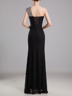 Black Maxi Bodycon One Shoulder Lace Dress for Cocktail Prom Bridesmaid Ball