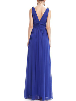 Blue V Neck Maxi Plus Size Dress for Prom Bridesmaid Cocktail Ball
