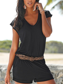 Black One Piece V Neck Shorts Plus Size Jumpsuit for Casual Party Evening