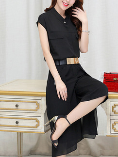 Black Two Piece Shirt Pants Plus Size Jumpsuit for Casual Office Evening