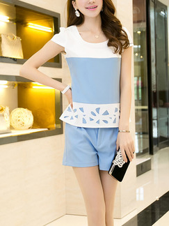 Blue and White Two Piece Shirt Shorts Plus Size Jumpsuit for Casual Office Evening