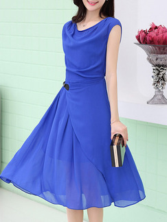 Blue Knee Length Plus Size Fit & Flare Dress for Casual Party Evening