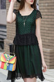 Green and Black Fit & Flare Above Knee Lace Plus Size Dress for Casual Party