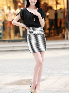 Black and White Two Piece Bodycon Above Knee Plus Size Dress for Casual Office Party