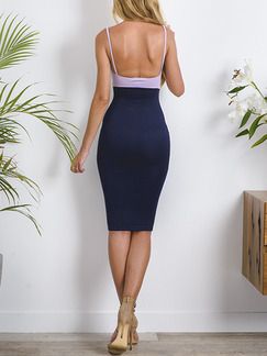 Blue and White Slip Bodycon Knee Length Plus Size Dress for Cocktail Party