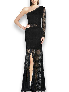 Black Maxi Lace Plus Size One Shoulder Long Sleeve Dress for Cocktail Prom Ball