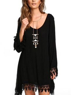 Black Shift Above Knee Plus Size Long Sleeve Lace Dress for Party Cocktail