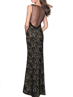 Black Maxi Bodycon Plus Size Lace Backless Dress for Cocktail Prom