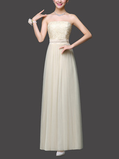 Beige Maxi Strapless Dress for Prom Bridesmaid