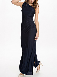 Blue One Shoulder Maxi Plus Size Bodycon Dress for Cocktail Party Evening