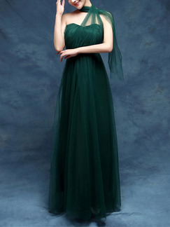 Green Maxi Strapless Dress for Prom Bridesmaid
