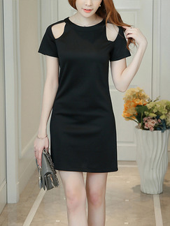 Black Sheath Above Knee Plus Size Dress for Casual Office Evening Party