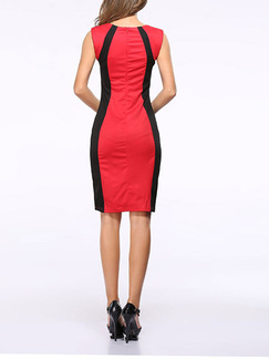 Black and Red Bodycon Above Knee Plus Size Dress for Party Evening Cocktail