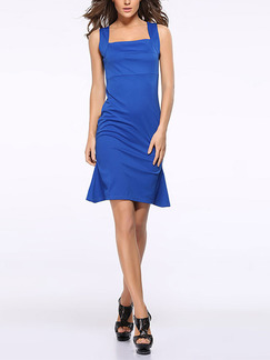 Blue Bodycon Slip Plus Size Above Knee Dress for Party Evening Cocktail