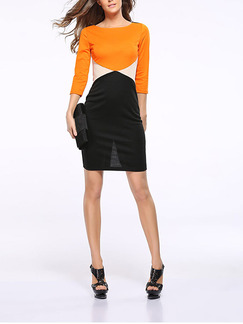 Orange and Black Bodycon Above Knee Plus Size Dress for Party Evening Cocktail