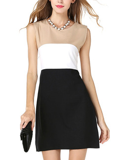 Brown White and Black Fit & Flare Above Knee Plus Size Dress for Casual Party Evening