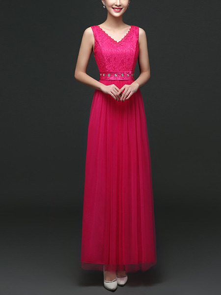 Red V Neck Maxi Lace Dress for Prom Bridesmaid