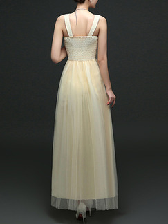 Beige V Neck Maxi Lace Dress for Prom Bridesmaid