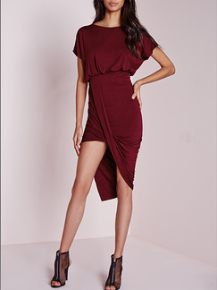 Red Bodycon Knee Length Dress for Cocktail Prom Evening Party