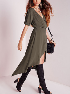 Green Midi V Neck Dress for Cocktail Party Evening