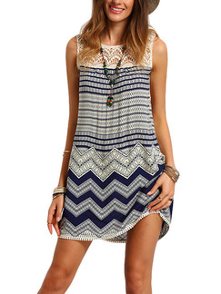 Blue and White Shift Above Knee Plus Size Lace Dress for Casual Beach