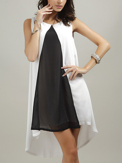 Black and White Knee Length Plus Size Shift Dress for Casual Evening