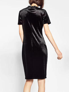 Black Sheath Knee Length Dress for Cocktail Evening Party