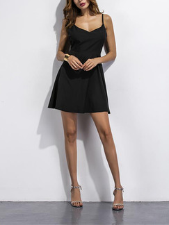 Black Fit & Flare Above Knee Slip Plus Size Dress for Party Evening Cocktail