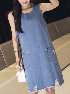 Blue Shift Knee Length Denim Plus Size Dress for Casual