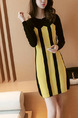 Black and Yellow Above Knee Shift Long Sleeve Dress for Casual Office Evening