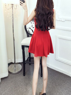 Red Above Knee Fit & Flare Slip V Neck Dress for Casual Party Evening
