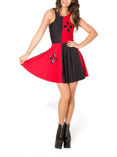 Red and Black Fit & Flare Above Knee Dress for Casual Party Evening