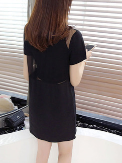 Black Shift Above Knee Dress for Casual