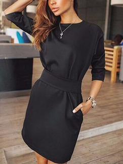 Black Plus Size Above Knee Sheath Long Sleeve Dress for Casual Evening Office