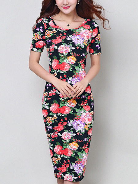 Blue Colorful Plus Size Bodycon Knee Length Floral Dress for Casual Office Evening