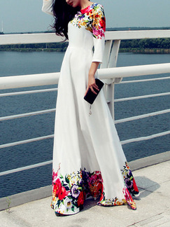 White Colorful Plus Size Maxi Floral Dress for Casual Beach Evening
