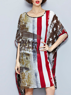 Red White and Brown Above Knee Shift Dress for Casual