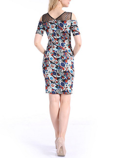 Blue Colorful Plus Size Bodycon Above Knee Dress for Casual Party Evening
